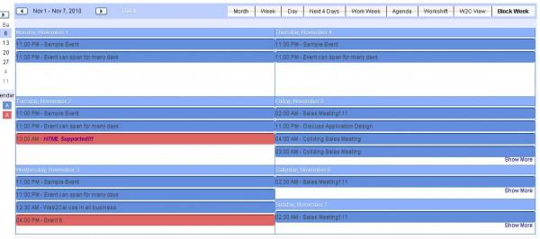 Week View as Blocks in Web2Cal